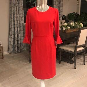 NWT Donna Morgan Ruffle Cut Red Sheath Dress